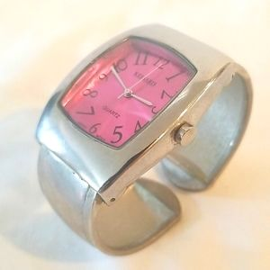 PINK and SILVER Cuff Bracelet Ladies Watch